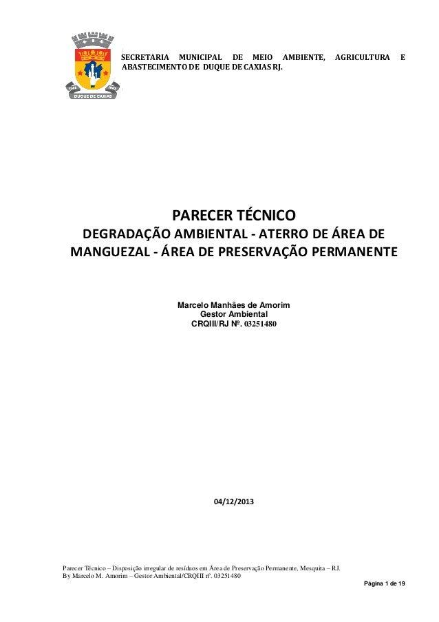Página 1 de 19 SECRETARIA MUNICIPAL DE MEIO AMBIENTE, AGRICULTURA E ABASTECIMENTO DE DUQUE DE CAXIAS RJ. PARECER TÉCNICO D...