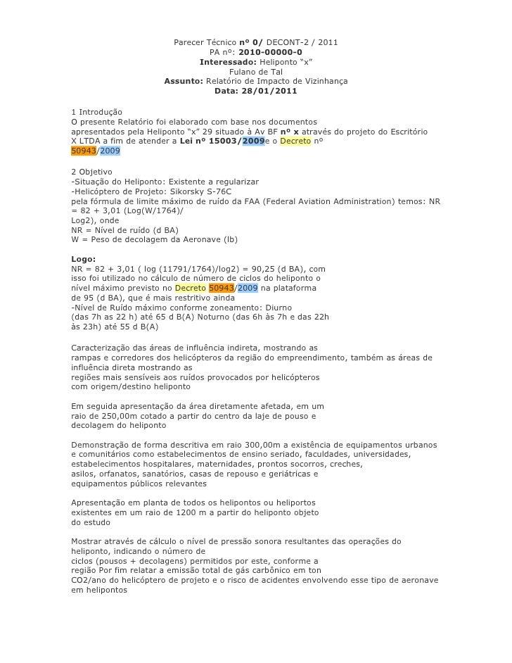 Parecer Técnico nº 0/ DECONT-2 / 2011                                  PA nº: 2010-00000-0                               I...