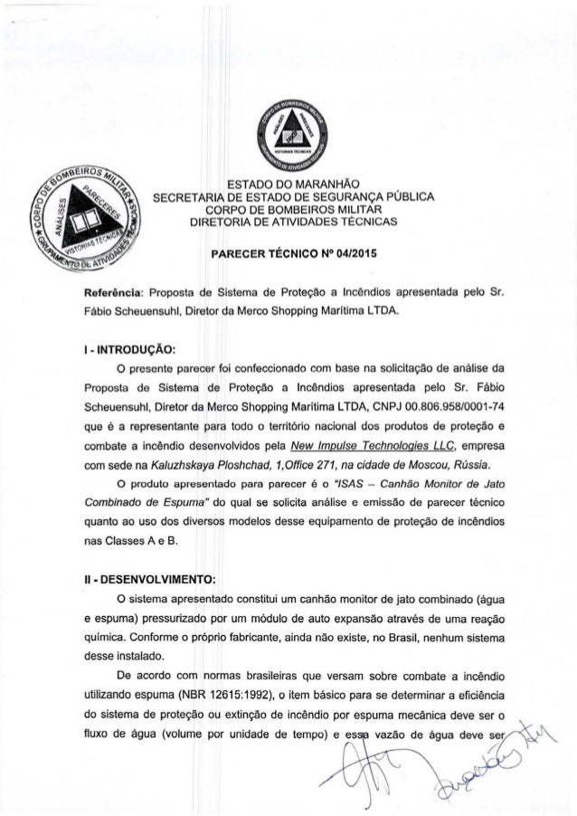 ESTADO DO MARANHAO SECRETARIA DE ESTADO DE SEGURAN<;A PUBLICA CORPO DE BOMBEIROS MILITAR DIRETORIA DE ATIVIDADES TECNICAS ...