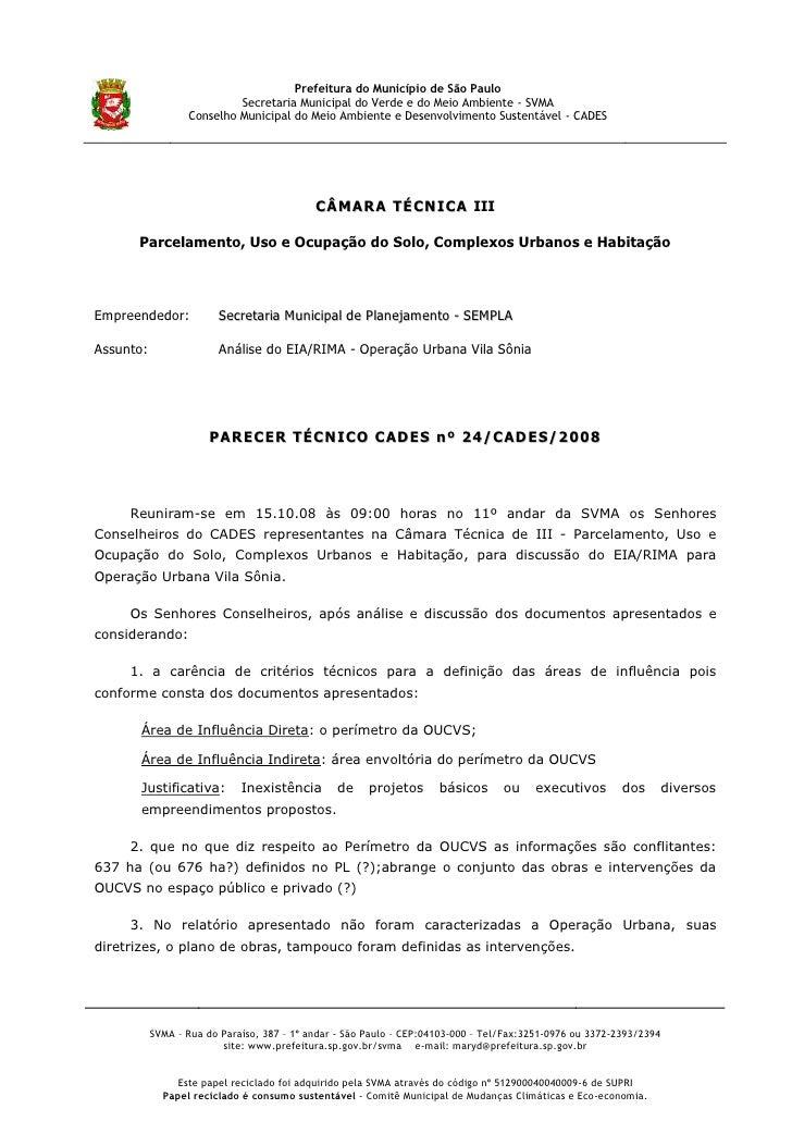 Prefeitura do Município de São Paulo                            Secretaria Municipal do Verde e do Meio Ambiente - SVMA   ...