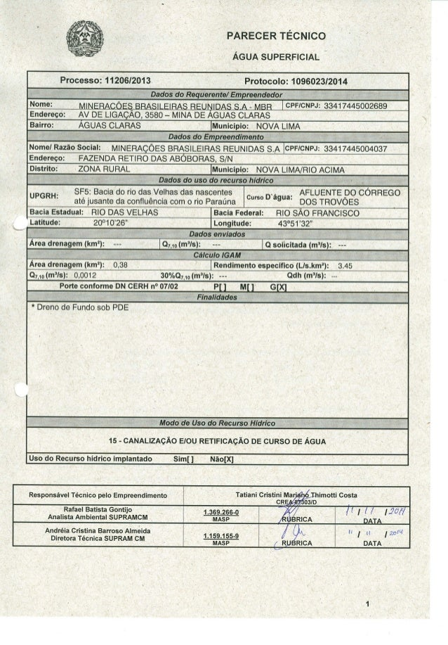 PARECER TÉCNICO     ÁGUA SUPERFICIAL i  Processo:  11206/2013 l Protocolo:  1 096023/2014  áUQÊiÚGlíRÉ_@IBHÍÉIÍÊÊÍÍÕPFÉQWÚ...