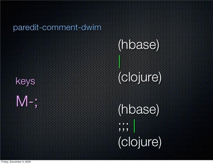 paredit-comment-dwim                                  (hbase)                                              keys           ...