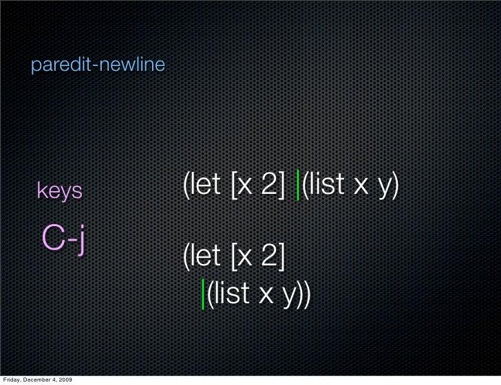 paredit-newline                keys            (let [x 2]  (list x y)              C-j           (let [x 2]               ...