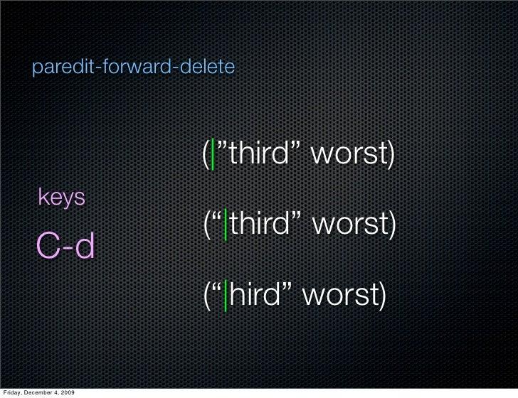"""paredit-forward-delete                               ( """"third"""" worst)            keys                            ("""" third""""..."""