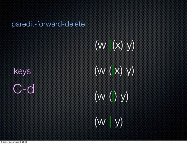 paredit-forward-delete                                    (w  (x) y)             keys                   (w ( x) y)        ...
