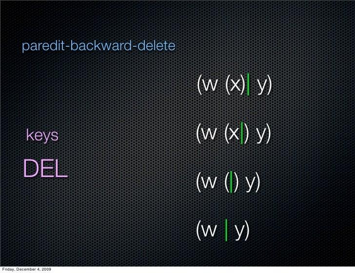 paredit-backward-delete                                     (w (x)  y)             keys                    (w (x ) y)     ...