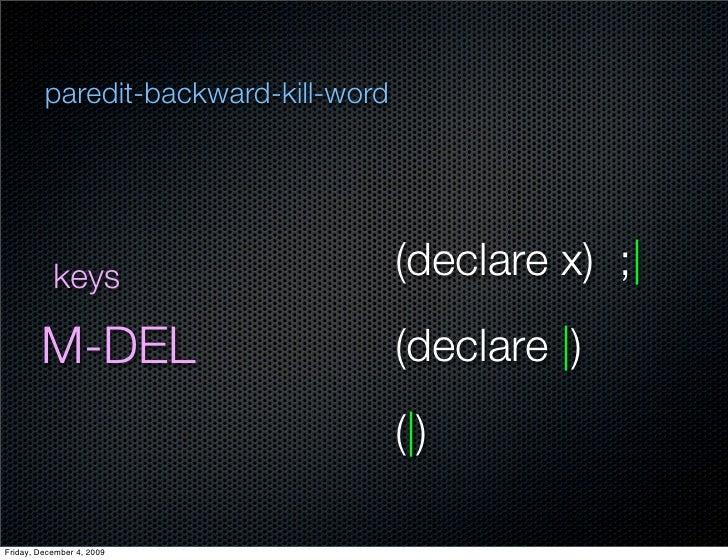 paredit-backward-kill-word                keys                       (declare x) ;          M-DEL                         ...