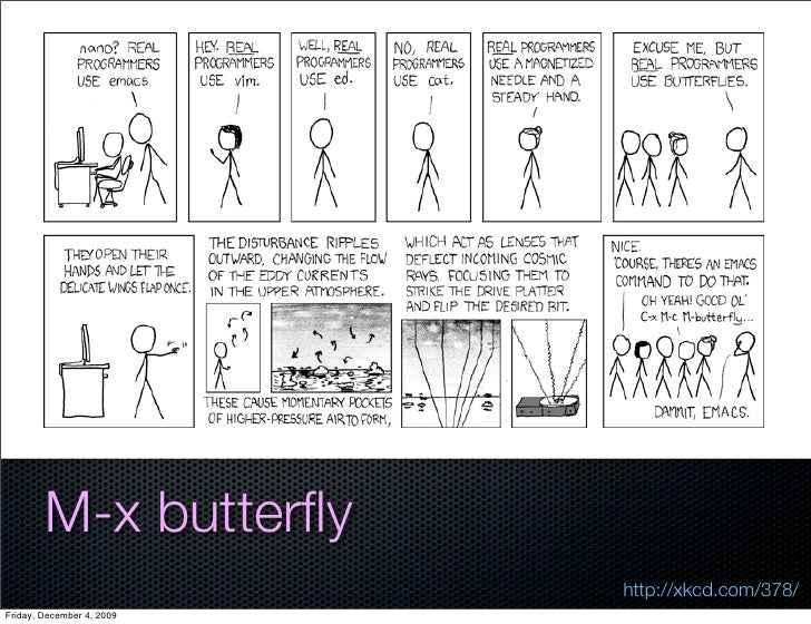 M-x butterfly                            http://xkcd.com/378/ Friday, December 4, 2009