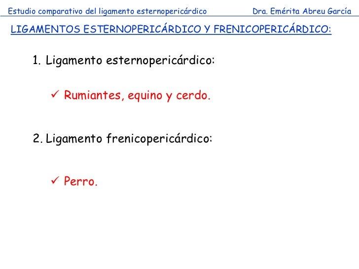 Estudio comparativo del ligamento esternopericárdico   Dra. Emérita Abreu GarcíaLIGAMENTOS ESTERNOPERICÁRDICO Y FRENICOPER...
