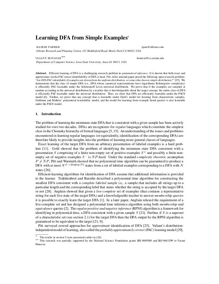 Learning DFA from Simple Examples*RAJESH PAREKH                                                                           ...
