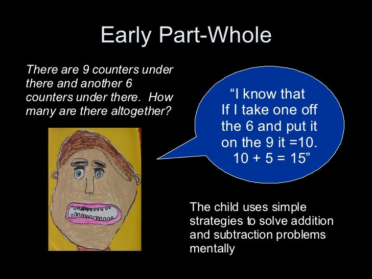 """Early Part-Whole """" I know that  If I take one off the 6 and put it on the 9 it =10.  10 + 5 = 15"""" There are 9 counters und..."""