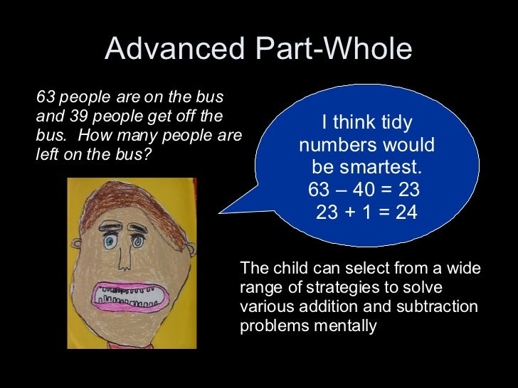 Advanced Part-Whole I think tidy numbers would be smartest. 63 – 40 = 23  23 + 1 = 24 63 people are on the bus and 39 peop...