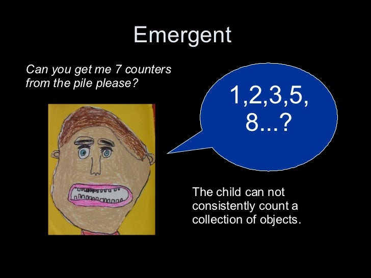 Emergent  Movie Clip  1,2,3,5,8...? Can you get me 7 counters from the pile please? The child can not consistently count a...