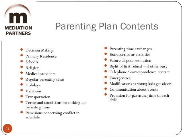 Parental Responsibilities – Parenting Plan Example