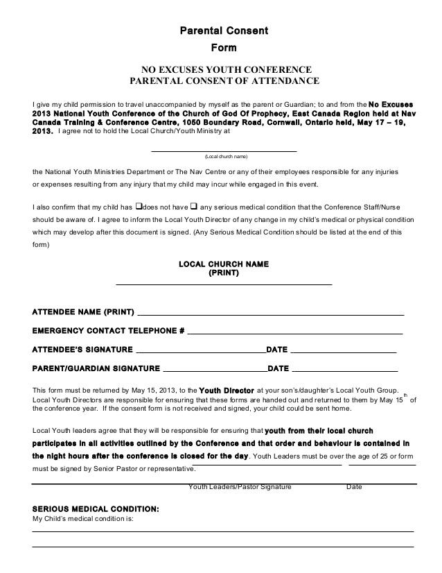 parental medical consent form template - parental consent form conference 2013