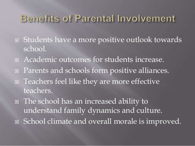 effect of parental involvement on academic The effects of parental involvement on student's academic performance and behavior (primary research.