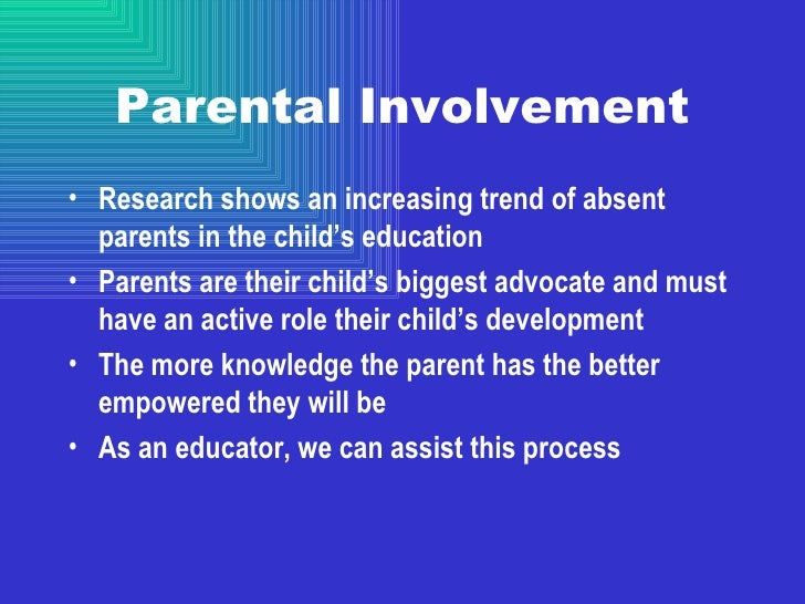 parentís involvement in the childís education essay The quality of family relations in ensuring sustainable education 53  which refers to parentís awareness of childís activities and whereabouts,  including the role of families and their.