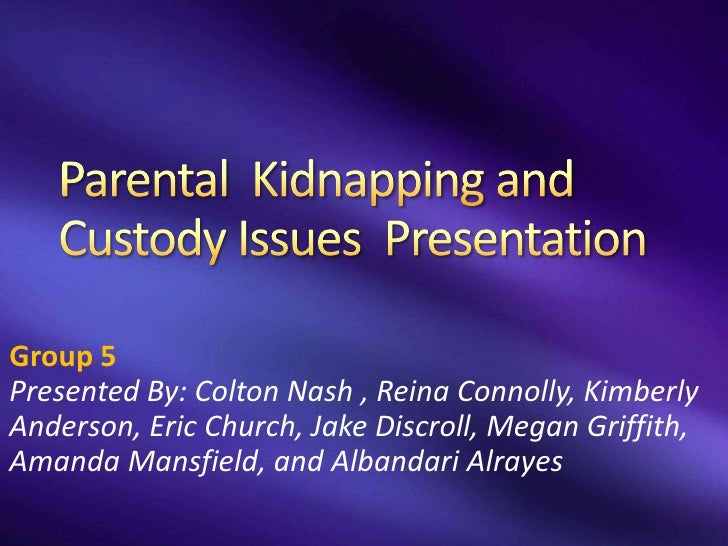 parental kidnapping Prosecuting international parental kidnapping susan kreston introduction parental kidnapping is a crime, recognized as such in the united states by every state, the district of columbia.