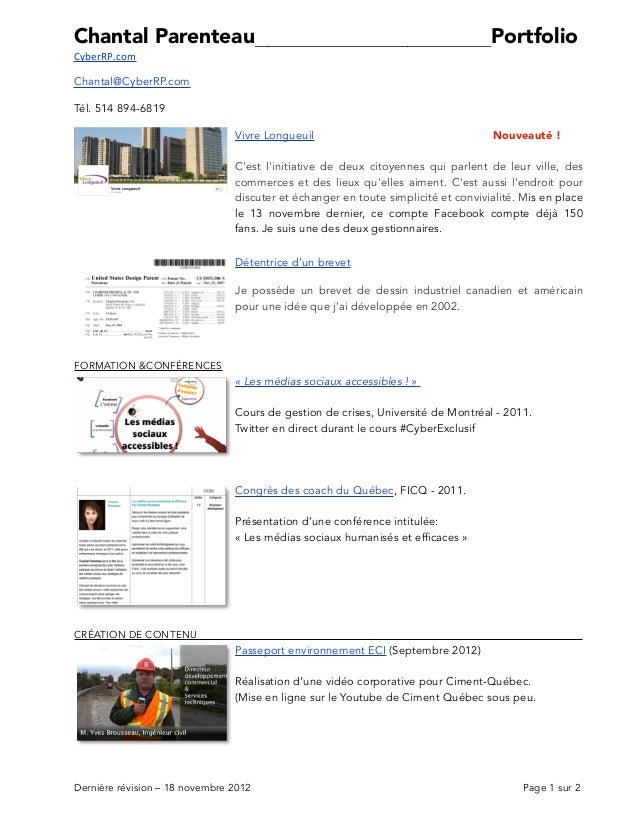 Chantal Parenteau__________________________________PortfolioCyberRP.comChantal@CyberRP.comTél. 514 894-6819               ...