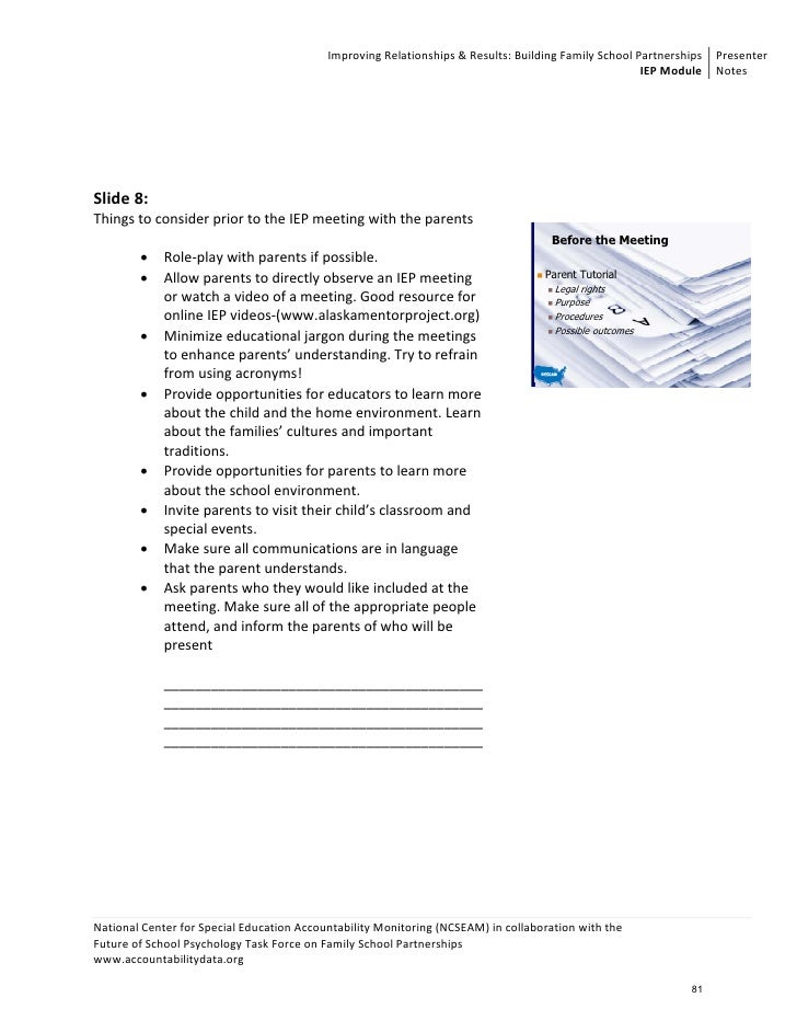 Unit 3: Parent-Friendly IEPs - Parental Involvement Notes