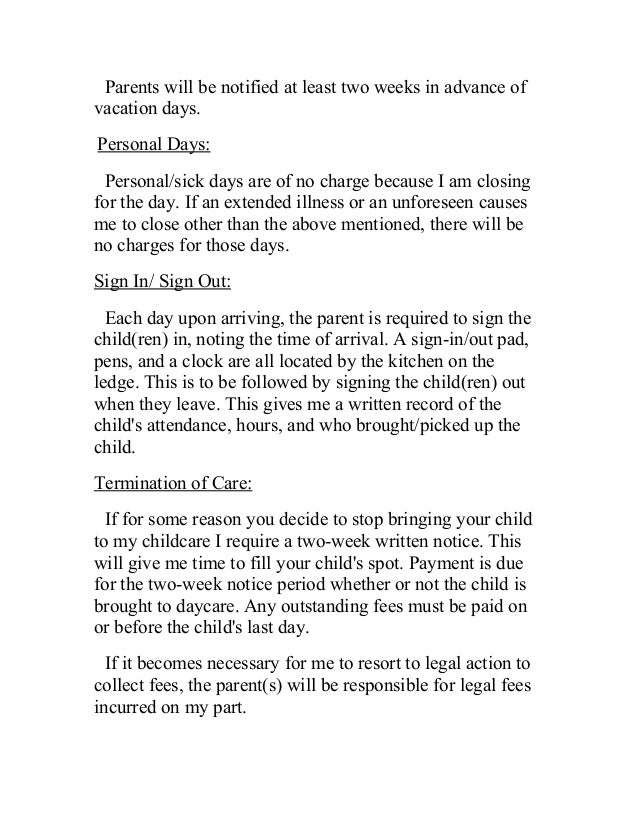 daycare notice letter two weeks