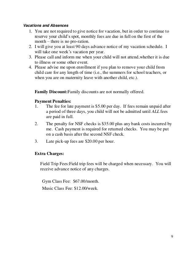 daycare notice