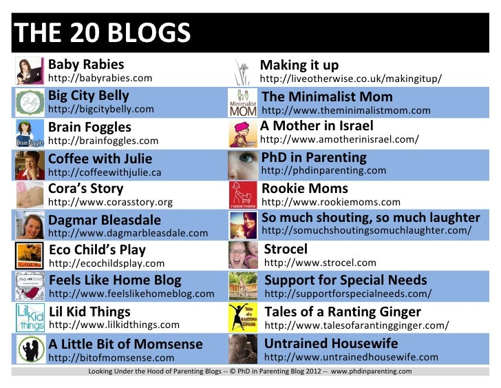 THE 20 BLOGS  Baby Rabies                                                 Making it up  http://babyrabies.com             ...