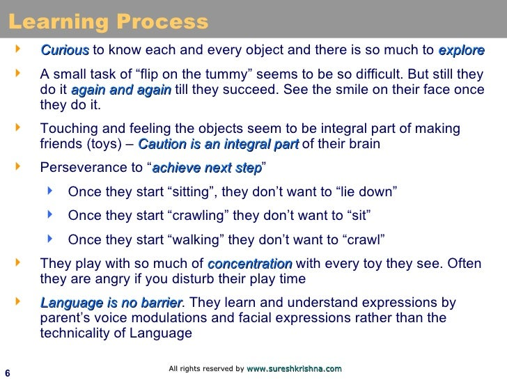 Learning Process <ul><li>Curious  to know each and every object and there is so much to  explore </li></ul><ul><li>A small...