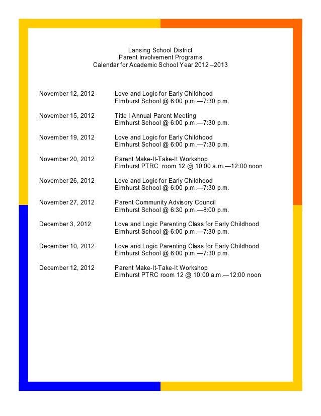 Lansing School District                           Parent Involvement Programs                   Calendar for Academic Scho...