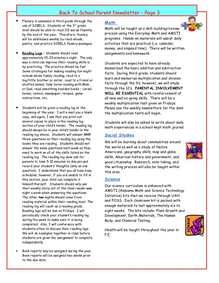 Parent letter 3 back to school parent newsletter altavistaventures Gallery