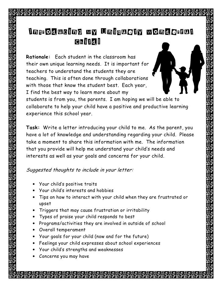 parent letter introducing child to teacher introducing my uniquely wonderful childrationale each student in the classroom hastheir own unique