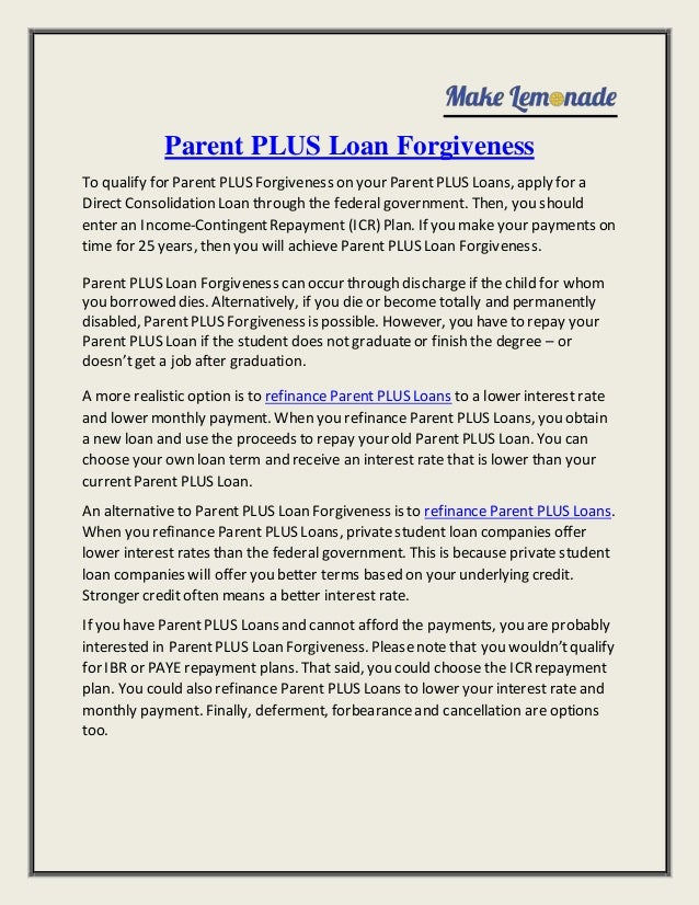 Parent Student Loans >> Parent Plus Loan Forgiveness