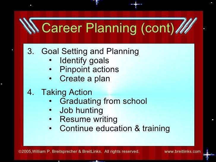 Career Planning (cont) <ul><li>3.  Goal Setting and Planning </li></ul><ul><ul><ul><li>Identify goals </li></ul></ul></ul>...