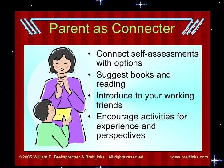 Parent as Connecter <ul><li>Connect self-assessments with options </li></ul><ul><li>Suggest books and reading </li></ul><u...