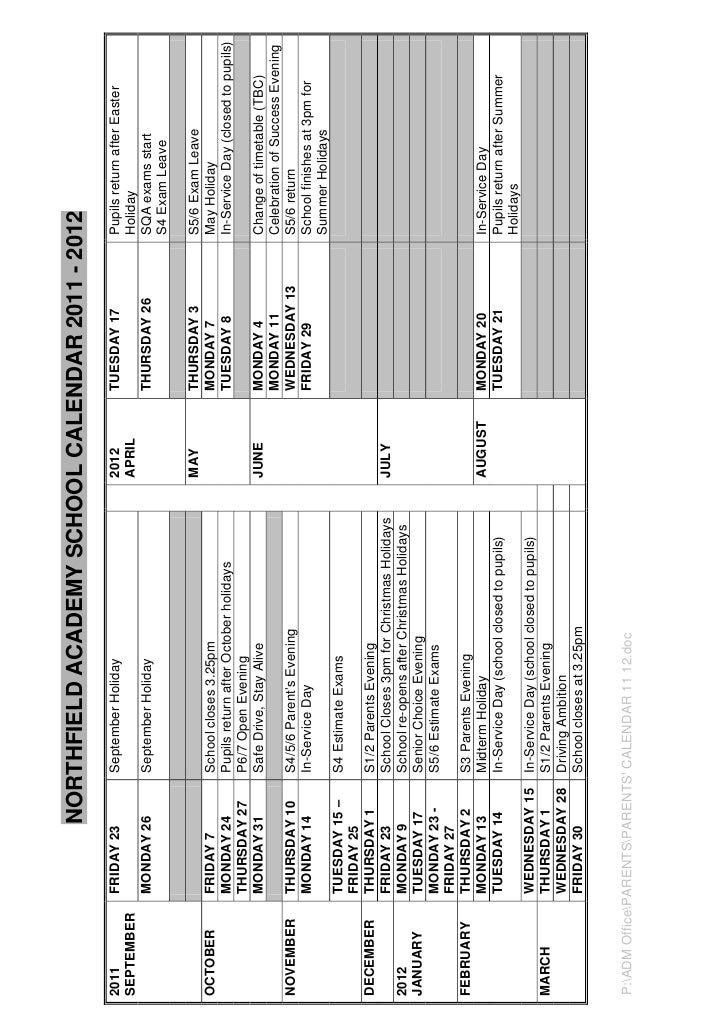 NORTHFIELD ACADEMY SCHOOL CALENDAR 2011 - 20122011         FRIDAY 23        September Holiday                          201...