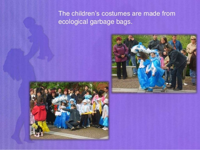 The children's costumes are made from ecological garbage bags.