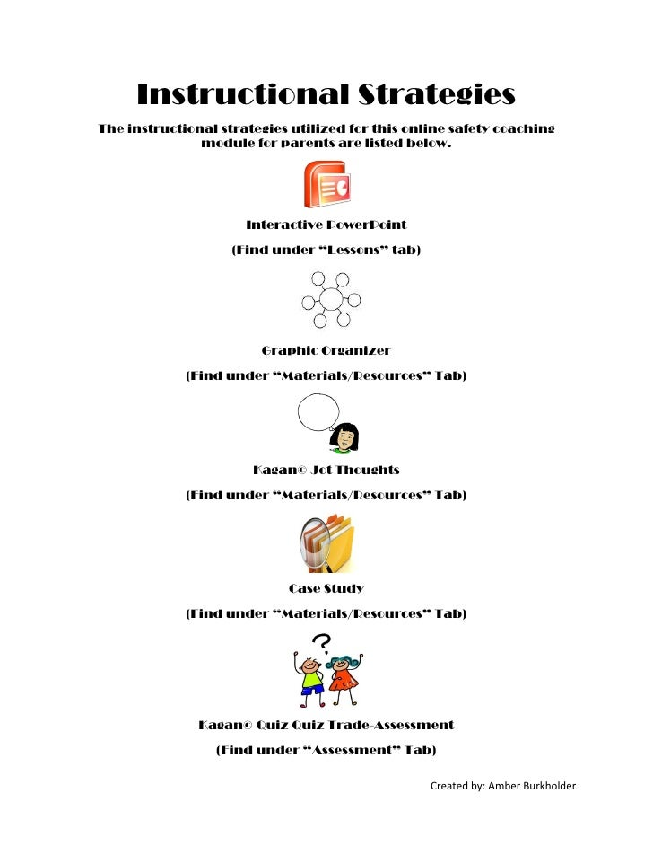 Instructional StrategiesThe instructional strategies utilized for this online safety coaching               module for par...