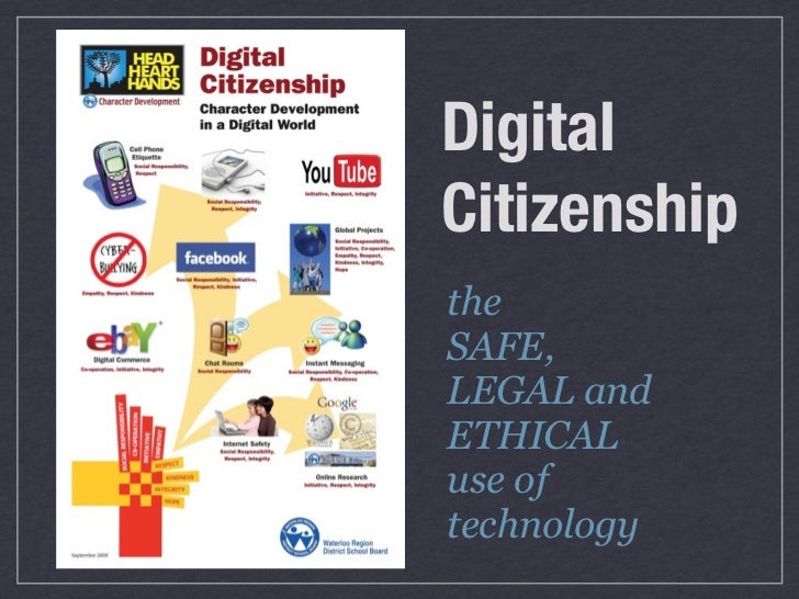 DigitalCitizenshiptheSAFE,LEGAL andETHICALuse oftechnology