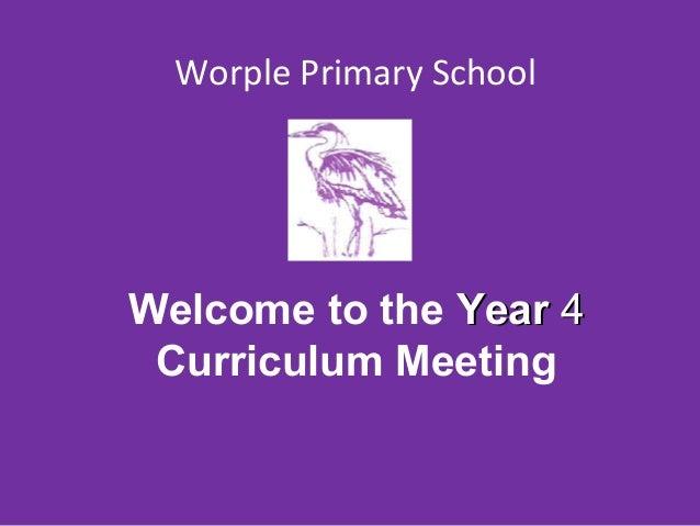 Worple Primary School Parents Meeting 2014 Year 4