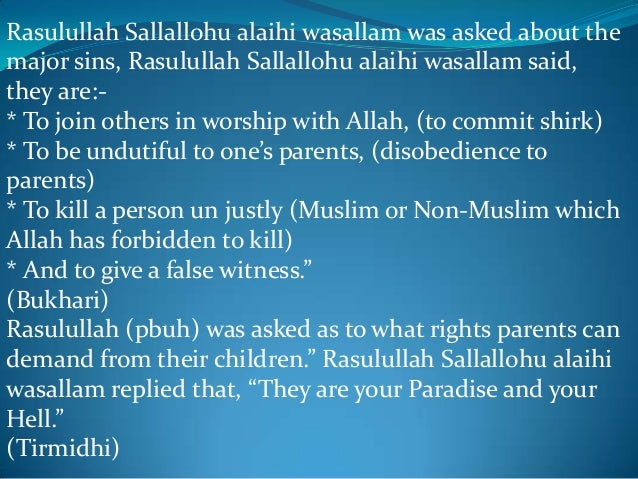 "rights of parents in islam essay Human rights in islam & their significance importance of human rights in islam the human rights conferred by allah are a part and parcel of the islamic faith "" o you who have believed, be persistently standing firm in justice, witnesses for allah, even if it be against yourselves or parents and relatives."