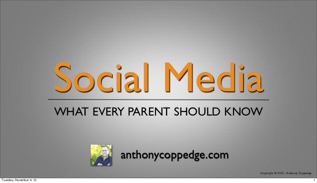 Social Media                          WHAT EVERY PARENT SHOULD KNOW                                   anthonycoppedge.com ...