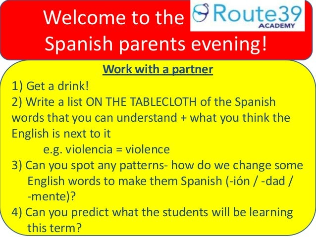 Work with a partner 1) Get a drink! 2) Write a list ON THE TABLECLOTH of the Spanish words that you can understand + what ...