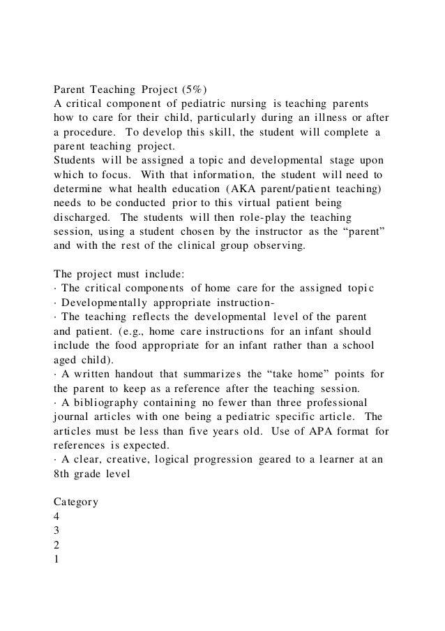 parent teaching project 5a critical component of pediatric nu 1 638