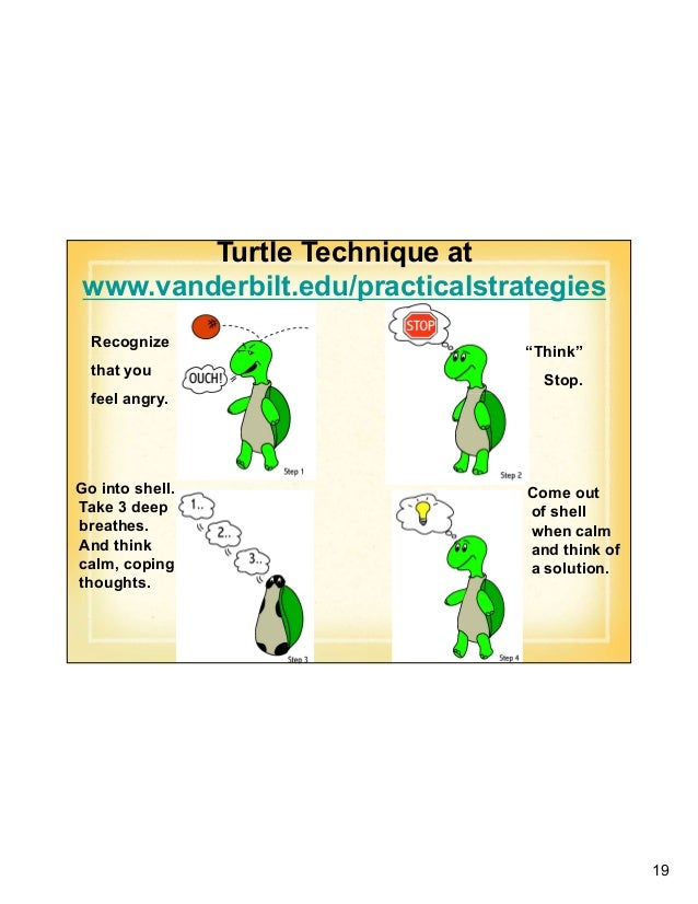 """19 Turtle Technique at www.vanderbilt.edu/practicalstrategies Recognize that you feel angry. """"Think"""" Stop. Go into shell. ..."""