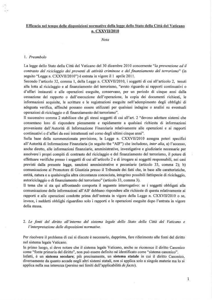 Efficacia nel tempo delle disposizioni normative della legge dello Stato della Città del Vaticano                         ...