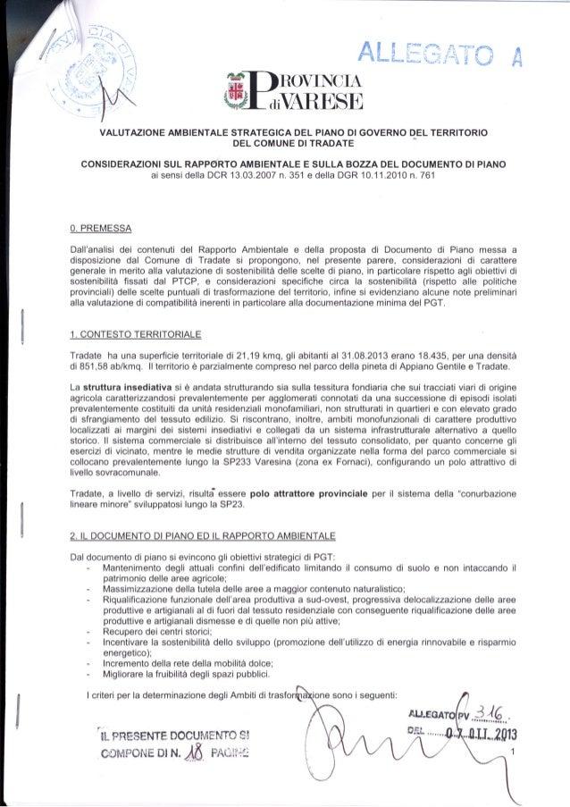 Parere Provincia di Varese al PGT di Tradate