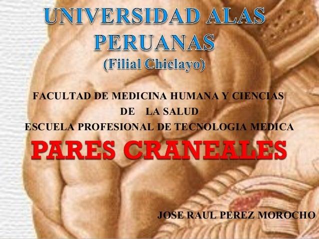FACULTAD DE MEDICINA HUMANA Y CIENCIAS DE LA SALUD ESCUELA PROFESIONAL DE TECNOLOGIA MEDICA JOSE RAUL PEREZ MOROCHO