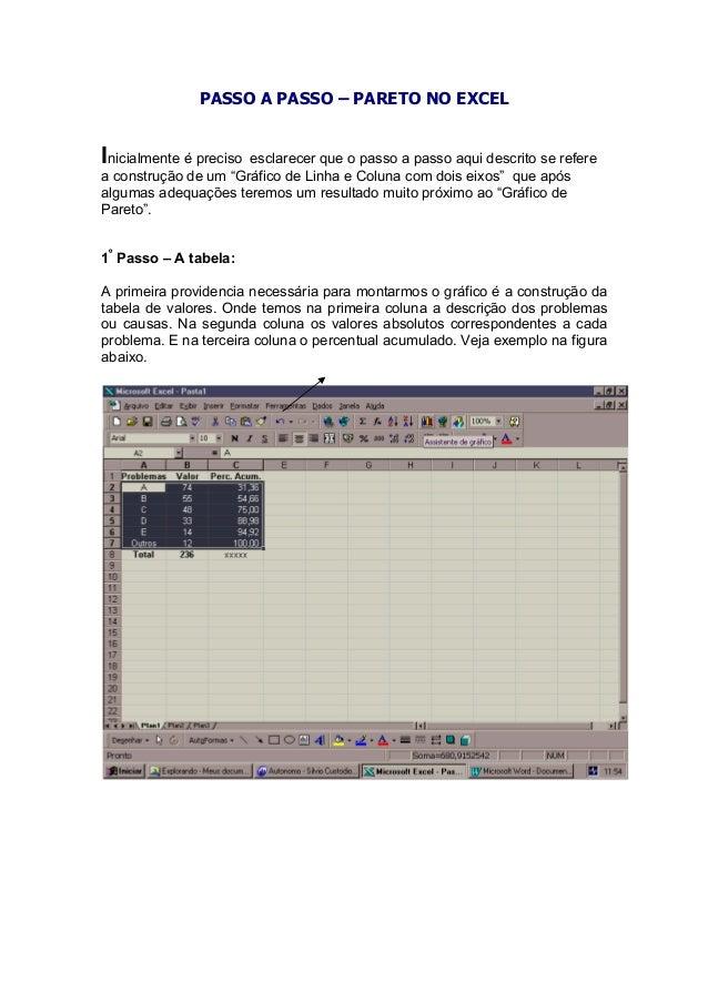 PASSO A PASSO – PARETO NO EXCEL Inicialmente é preciso esclarecer que o passo a passo aqui descrito se refere a construção...
