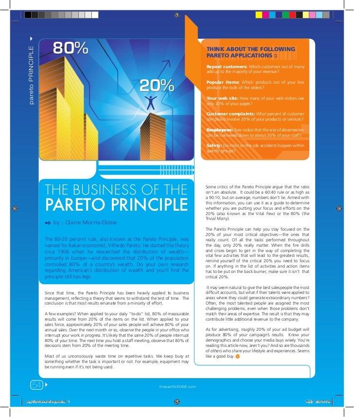 pareto PRINCIPLE !                        80%                                                   20%                     PA...