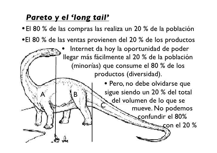 Pareto y el 'long tail' • El 80 % de las compras las realiza un 20 % de la población •El 80 % de las ventas provienen del ...